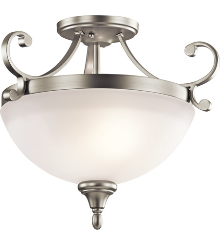 Kichler 43169NI Monroe 2 Light 17 inch Brushed Nickel Semi-Flush Ceiling Light photo