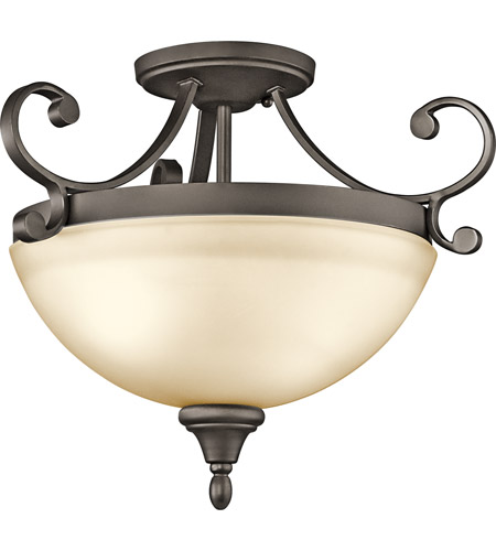 Kichler 43169OZ Monroe 2 Light 17 inch Olde Bronze Semi-Flush Mount Ceiling Light photo