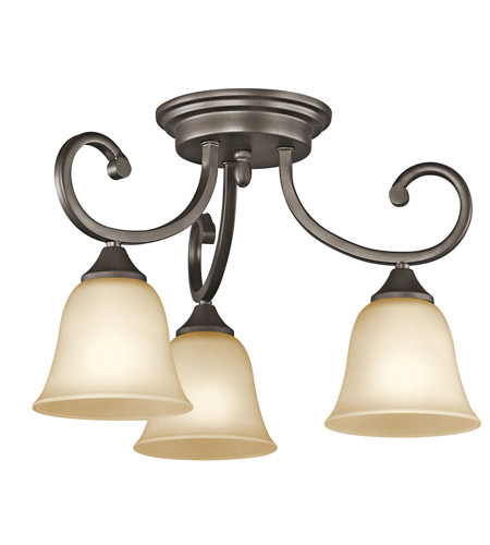 Kichler Lighting Builder Feville 3 Light Semi-Flush Mount in Olde Bronze 43174OZ