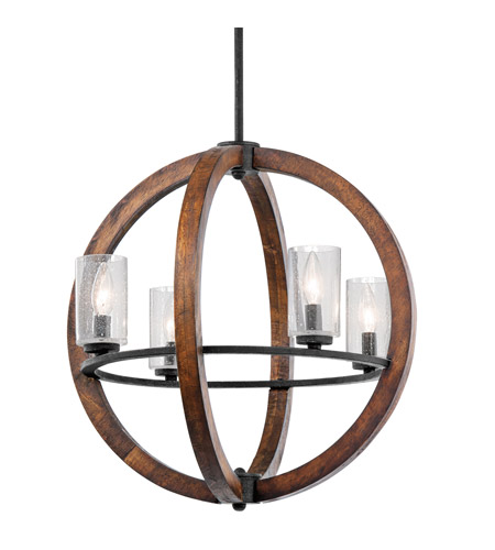 Kichler Lighting Grand Bank 4 Light Chandelier in Auburn Stained Finish 43185AUB photo