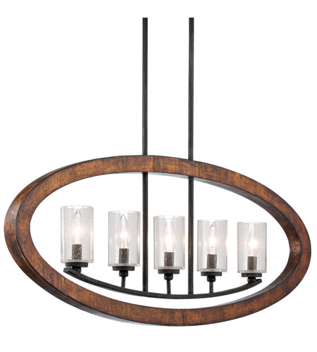 Kichler Lighting Grand Bank 5 Light Single Linear Chandelier in Auburn Stained Finish 43186AUB