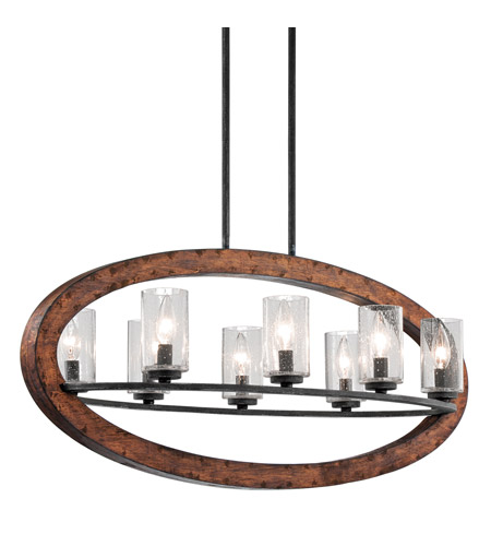 Kichler Lighting Grand Bank 8 Light Double Linear Chandelier in Auburn Stained Finish 43191AUB photo