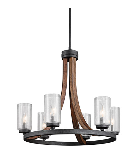 Kichler Grand Bank 6 Light Chandelier 1 Tier Medium in Auburn Stain 43193AUB photo