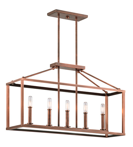 Kichler Archibald 5 Light Chandelier Linear (Single) in Antique Copper 43217ACO photo