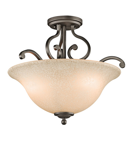 Kichler 43232OZ Camerena 3 Light 18 inch Olde Bronze Semi-Flush Mount Ceiling Light photo