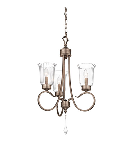 Kichler 43237BRSG Malina 3 Light 19 inch Brushed Silver and Gold Mini Chandelier Ceiling Light photo