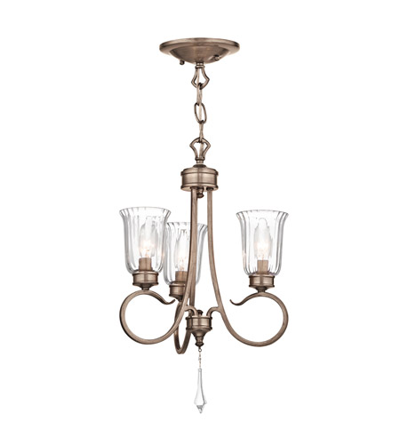Kichler Lighting Malina 3 Light Convertible Semi Flush Chandelier in Brushed Silver and Gold 43242BRSG photo