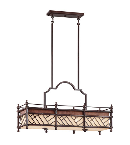 Kichler Lighting Rum Cove 4 Light Rectangular Linear Chandelier in Cayman Bronze 43247CYZ photo