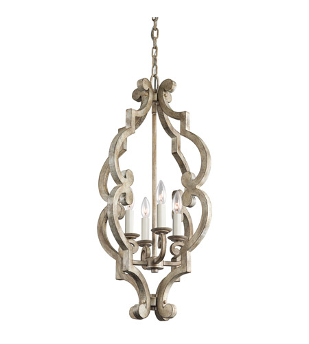 Kichler Lighting Hayman Bay 4 Light Foyer Chandelier in Distressed Antique White 43255DAW photo