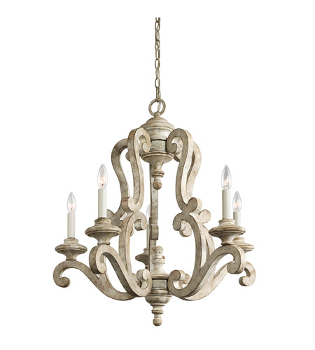 Kichler Lighting Hayman Bay 5 Light Chandelier in Distressed Antique White 43256DAW