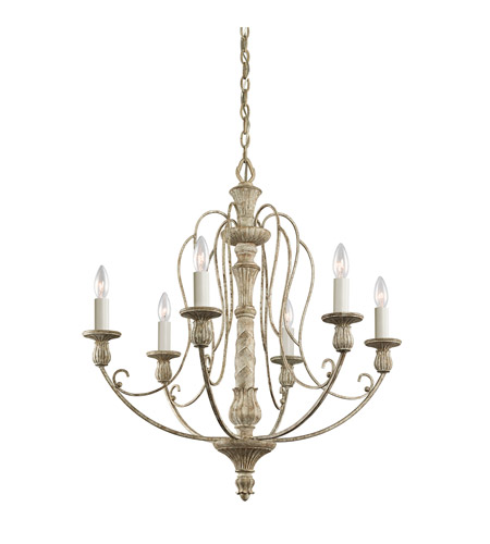 Kichler Lighting Hayman Bay 6 Light Chandelier in Distressed Antique White 43257DAW