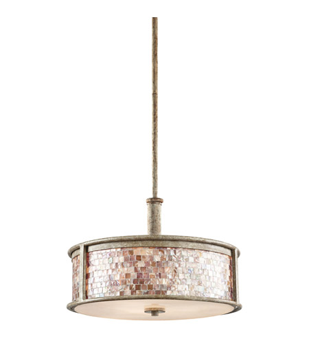 Kichler Lighting Hayman Bay 3 Light Round Linear Chandelier in Distressed Antique White 43262DAW
