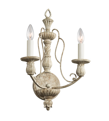 Kichler Lighting Hayman Bay 2 Light Wall Bracket in Distressed Antique White 43263DAW photo