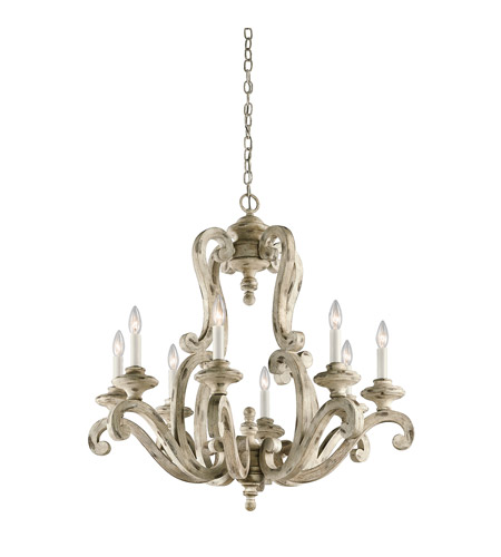 Hayman Bay 8 Light 32 Inch Distressed Antique White Chandelier Ceiling