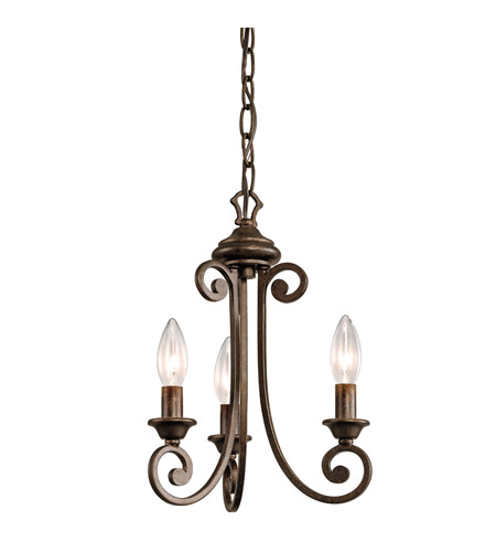 Kichler Lighting Mithras 3 Light Convertible Semi Flush Chandelier in Terrene Bronze 43277TRZ photo