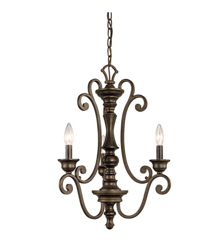 Kichler Lighting Mithras 3 Light Convertible Semi Flush Chandelier in Terrene Bronze 43278TRZ