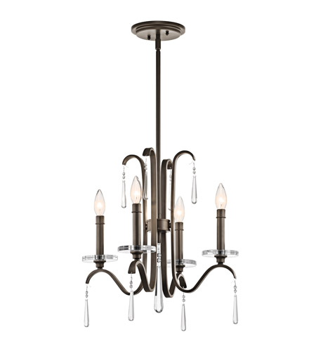 Kichler 43287OZ Tara 4 Light 18 inch Olde Bronze Chandelier Ceiling Light photo