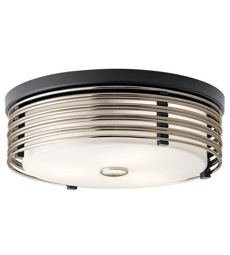 kichler 43293bk bensimone 2 light 15 inch black flush mount ceiling light. Black Bedroom Furniture Sets. Home Design Ideas