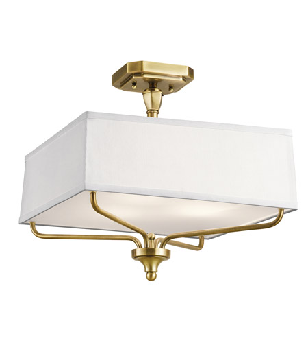 Kichler 43309NBR Arlo 3 Light 15 inch Natural Brass Semi Flush Light Ceiling Light photo