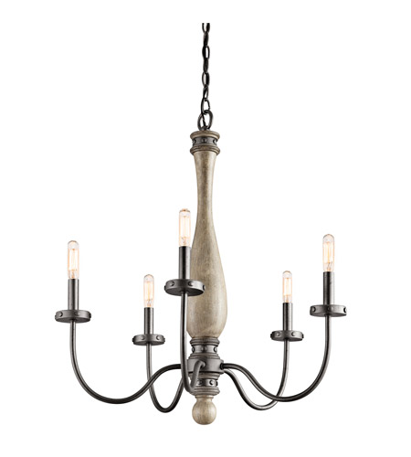 Kichler Lighting Evan 5 Light Chandelier in Distressed Antique Gray 43322DAG