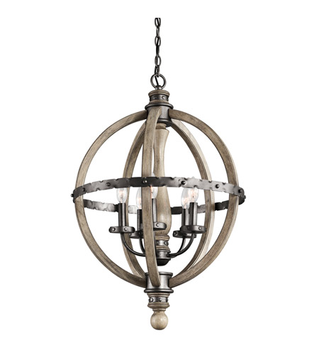 Kichler Lighting Evan 5 Light Chandelier in Distressed Antique Gray 43324DAG