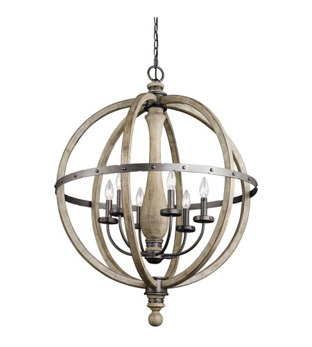 Kichler Evan 6 Light Chandelier 1 Tier Large in Distressed Antique Gray 43327DAG