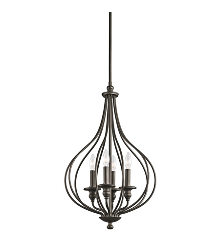 Kichler 43332OZ Kensington 4 Light 16 inch Olde Bronze Foyer Pendant Ceiling Light photo