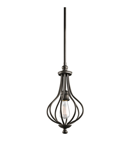 Kichler 43333OZ Kensington 1 Light 8 inch Olde Bronze Mini Pendant Ceiling Light photo