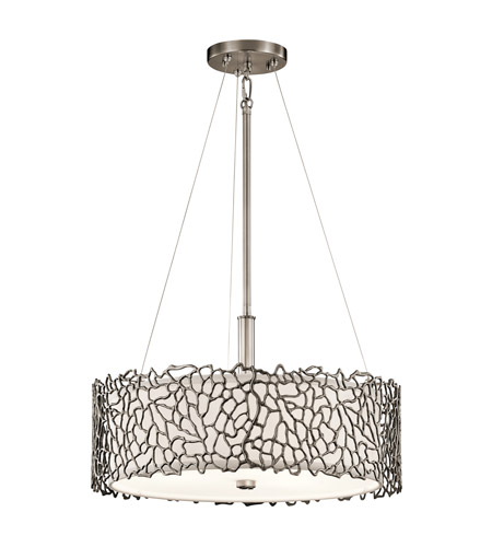 Kichler 43346clp silver coral 3 light 18 inch classic pewter pendant kichler 43346clp silver coral 3 light 18 inch classic pewter pendant convertible semi flush ceiling light aloadofball Gallery