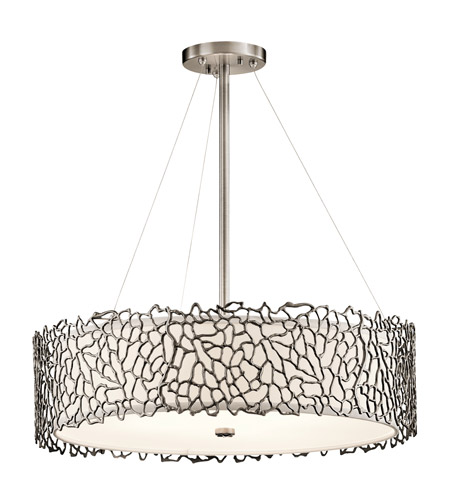 Red Coral Chandelier With 3 Lights: Kichler 43347CLP Silver Coral 4 Light 22 Inch Classic
