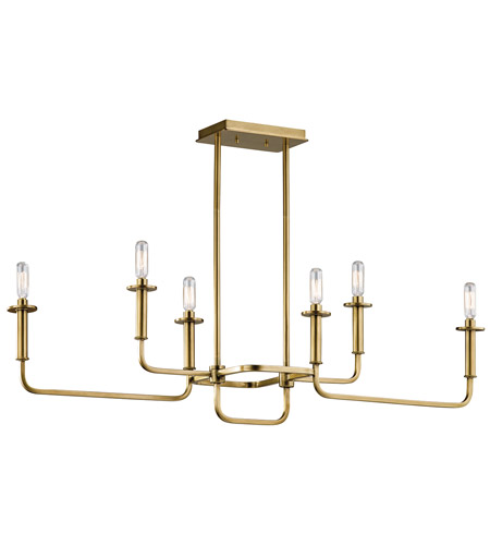 Kichler 43362NBR Alden 6 Light 11 inch Natural Brass Chandelier ...
