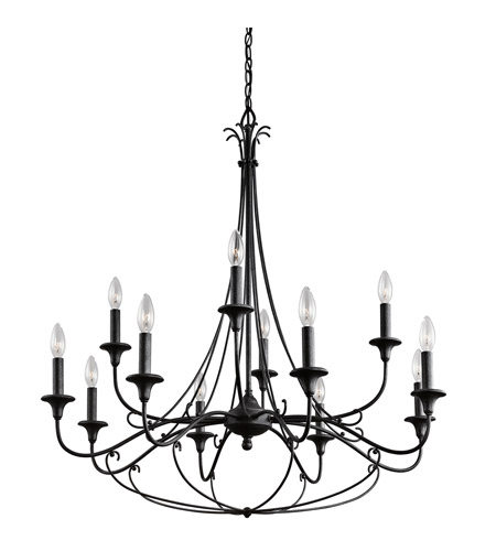 Kichler Basel 12 Light Chandelier 2 Tier in Distressed Black 43455DBK photo