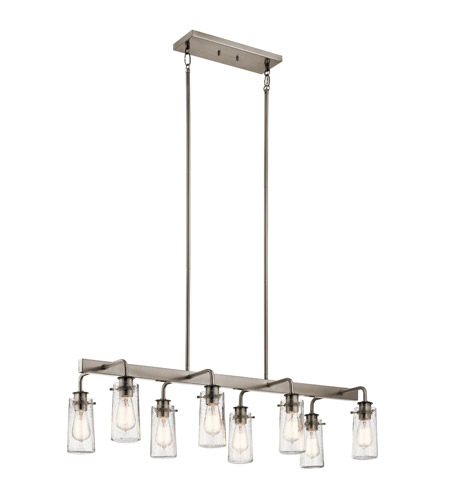 Kichler 43457clp braelyn 8 light 42 inch classic pewter linear kichler 43457clp braelyn 8 light 42 inch classic pewter linear chandelier ceiling light double aloadofball Image collections