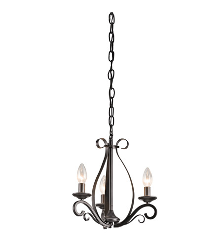 Kichler Kambry 3 Light Mini Chandelier in Smokey Gray 43461SMG