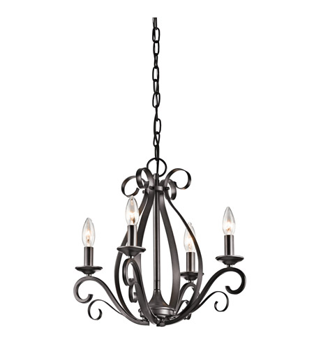 Kichler Kambry 4 Light Mini Chandelier in Smokey Gray 43462SMG photo