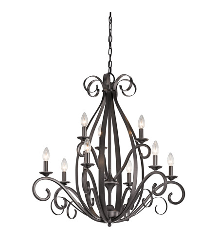 Kichler Kambry 9 Light Chandelier 2 Tier in Smokey Gray 43465SMG photo