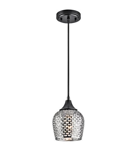 Kichler 43489bkslv Annata 1 Light 6 Inch Black Mini Pendant Ceiling In Silver