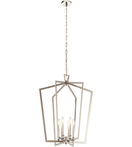 Kichler 43495PN Abbotswell 6 Light 25 inch Polished Nickel Foyer Pendant Ceiling Light, Large photo