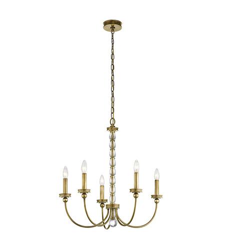 Kichler Rossington 5 Light Chandelier In Natural Brass