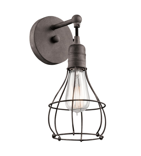 Kichler 43603wzc industrial cage 1 light 6 inch weathered zinc kichler 43603wzc industrial cage 1 light 6 inch weathered zinc wall sconce wall light mozeypictures Images