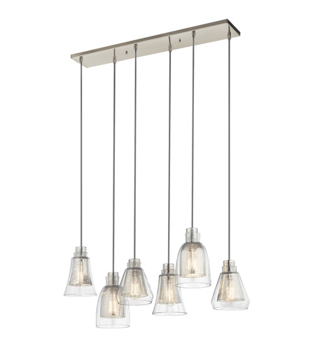 Kichler 43628ni Evie 6 Light 10 Inch Brushed Nickel Chandelier Linear Double Ceiling
