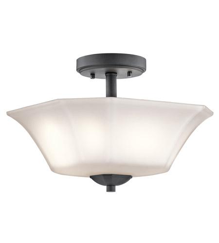 kichler 43636bk serena 2 light 13 inch black semi flush light