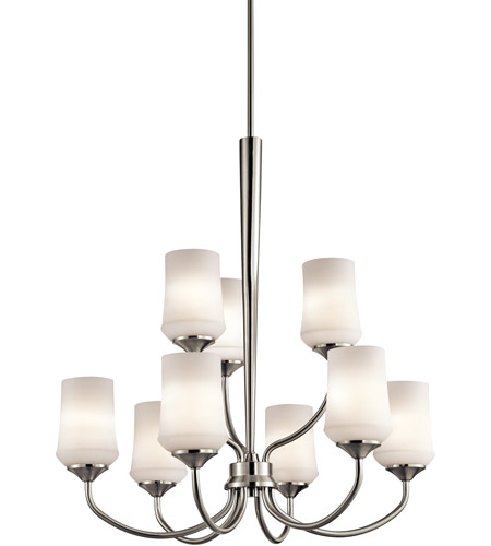 Kichler 43666NI Aubrey 9 Light 29 inch Brushed Nickel Chandelier 2 Tier Ceiling Light photo