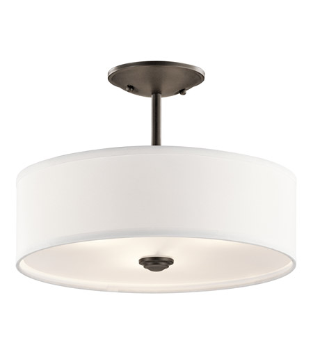 kichler 43675oz shailene 3 light 14 inch olde bronze semi flush ceiling light