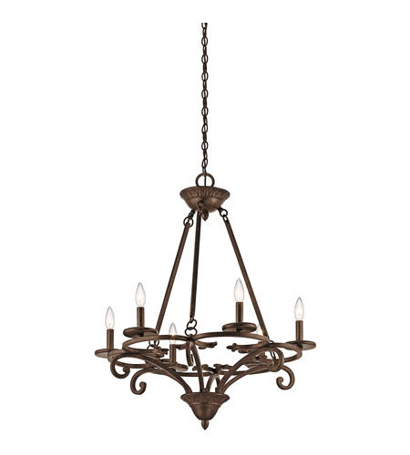 Kichler 43771AGZ Caldella 6 Light 27 inch Aged Bronze Chandelier Ceiling Light photo
