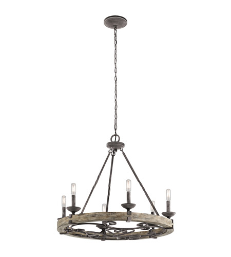 Kichler 43823WZC Taulbee 6 Light 29 inch Weathered Zinc Chandelier Ceiling Light  photo