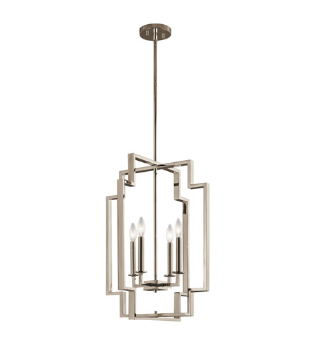 Kichler 43965pn Downtown Deco 4 Light 18 Inch Polished Nickel Foyer Pendant Ceiling Large