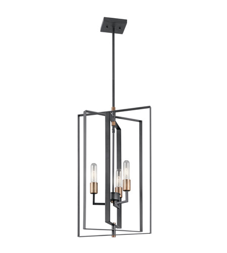 Kichler 43983BK Taubert 3 Light 15 inch Black Foyer Pendant Ceiling Light  photo
