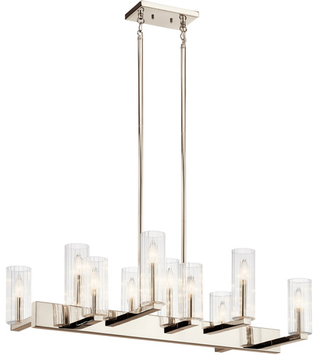 Kichler 44316PN Cleara 10 Light 16 inch Polished Nickel Chandelier Linear (Double) Ceiling Light photo