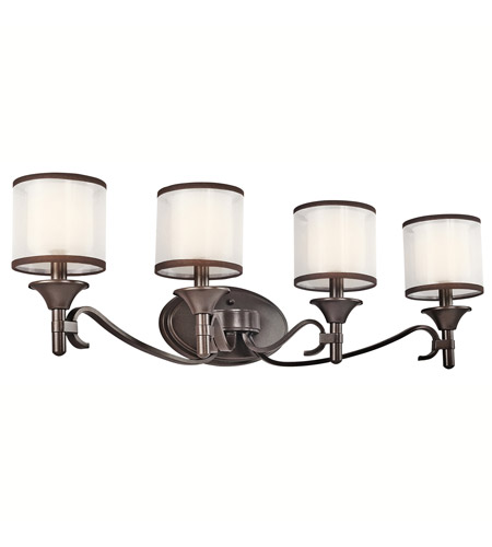 Kichler 45284MIZ Lacey 4 Light 31 inch Mission Bronze Wall Mt Bath 4 Arm Wall Light